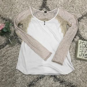 FREE PEOPLE white with cream lace long sleeve top